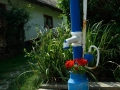 blaue Pumpe mit Blumen